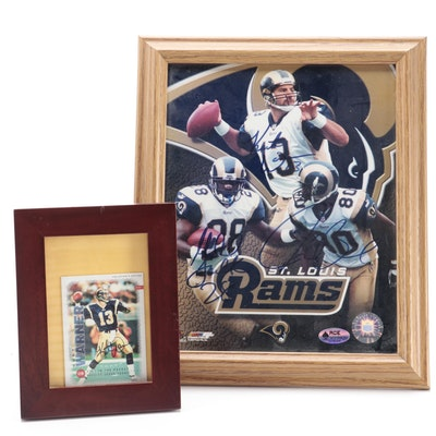 Kurt Warner Signed St. Louis Rams Photo Print and Football Card, COA
