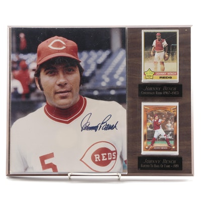 Johnny Bench Cincinnati Reds Signed Photo Plaque with Baseball Cards