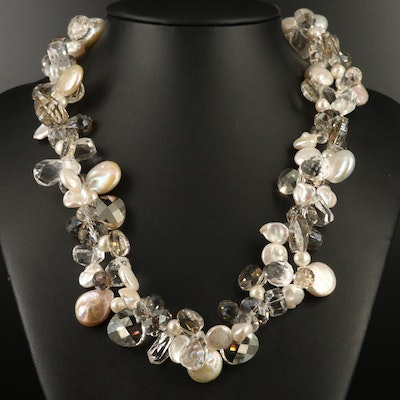 Pearl, Rock Crystal Quartz and Glass Necklace with Sterling and 800 Silver Clasp