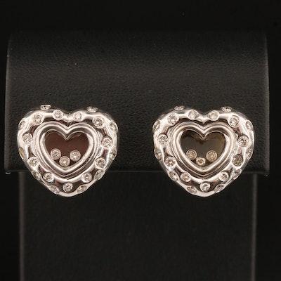 18K 1.00 CTW Floating Diamond Heart Earrings