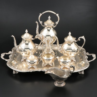 F.B. Rogers Silver Plate Tea and Coffee Service Set with Other Gravy Boat