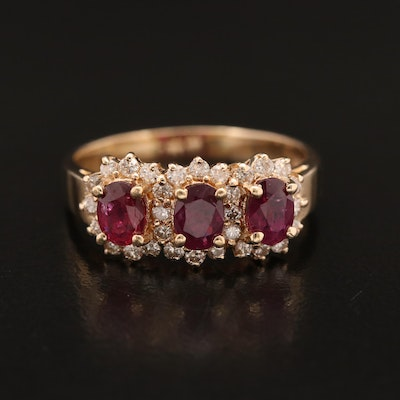 14K Ruby and Diamond Three Stone Halo Ring