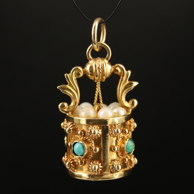 14K Pearl and Turquoise Well Motif Pendant