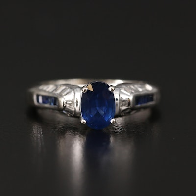 14K Sapphire and Diamond Cathedral Ring