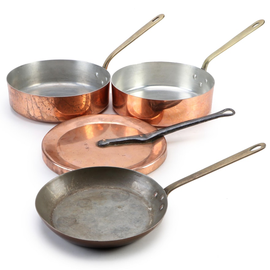 Lamalle French Copper and Brass Handled Cookware, Mid to Late 20th Century