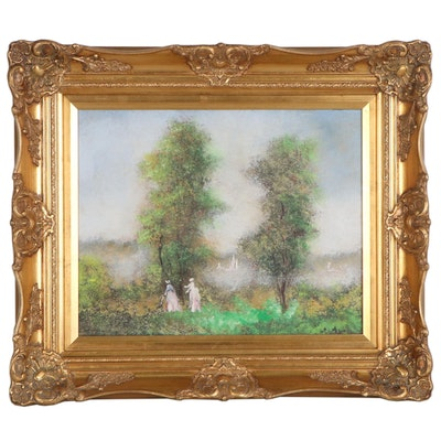 Impressionist Landscape Oil Painting, Late 20th Century