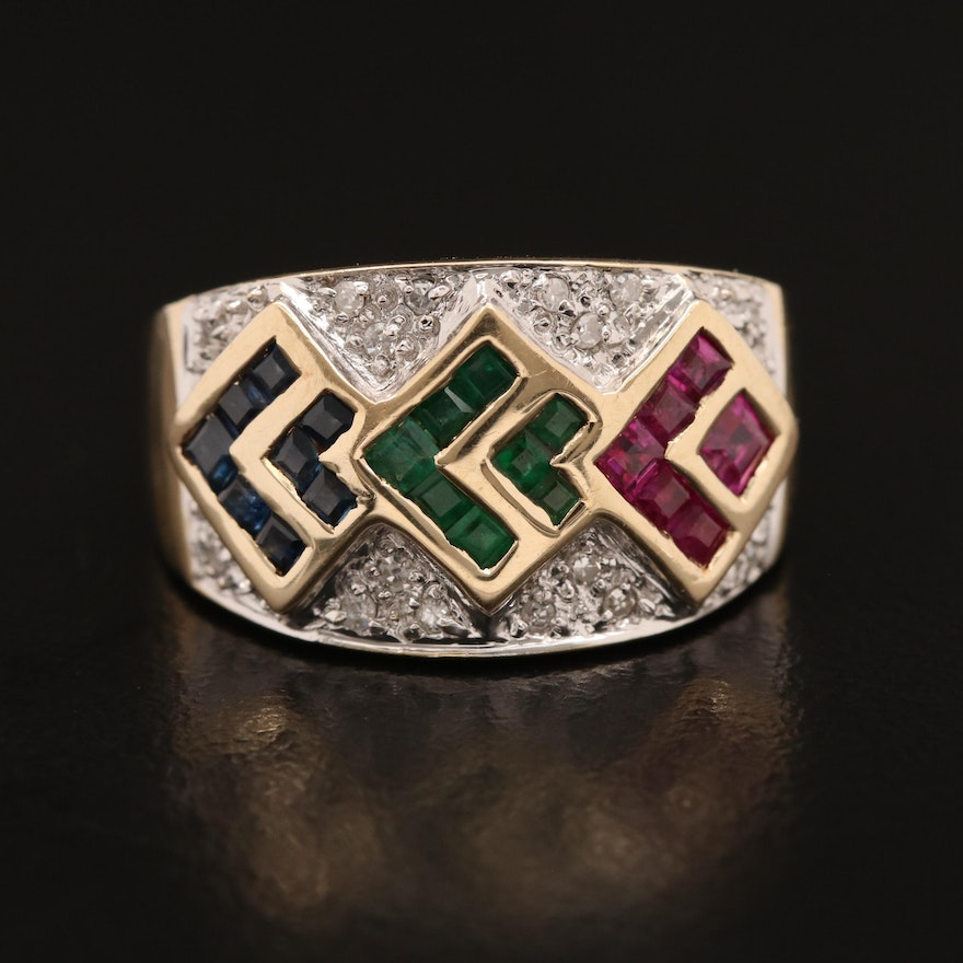 14K Tapered Band with Ruby, Emerald, Sapphire and Diamond