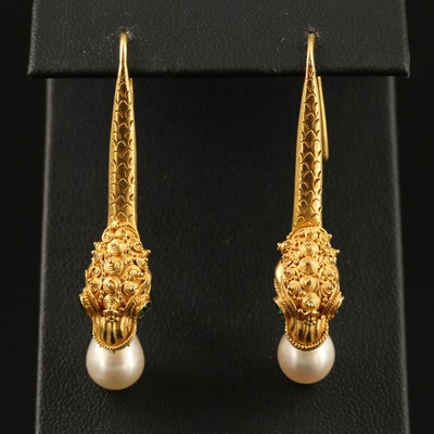 18K Pearl and Tsavorite Dragon Dangle Earrings