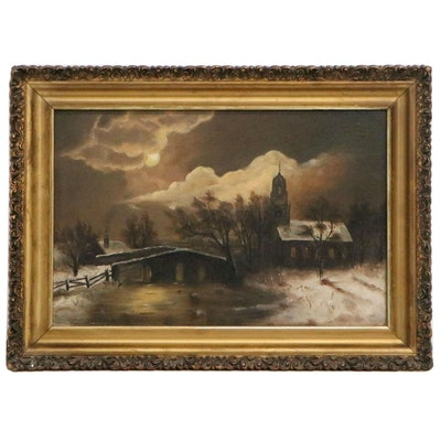 Rural Landscape Oil Painting with Church, Early 20th Century