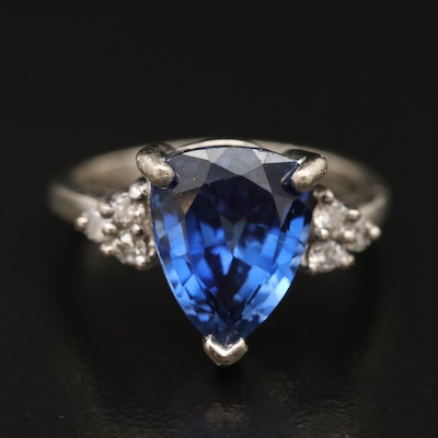 10K Sapphire and Diamond Triangular Ring