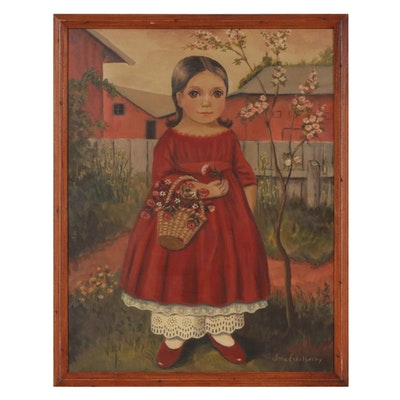 Jane Eckelberry Folk Art Oil Painting of Young Girl with Flower Basket
