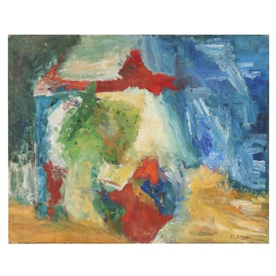 "Doris Luna Abstract Oil Painting ""Funnel"", Mid to Late 20th Century"