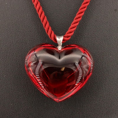 Baccarat Sterling Silver and Crystal Heart Pendant Necklace