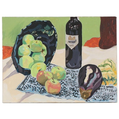 Tracy Steinbrook Still Life Oil Painting of Apples, Eggplant, and Wine Bottle