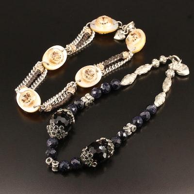Rodrigo Otazu Necklaces Featuring Rhinestone, Black Onyx and Mother of Pearl