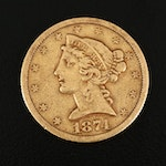 Low Mintage 1874 Liberty Head $5 Gold Half Eagle