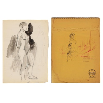 Yolanda Fusco Sketch Pad of Figure Drawings, Mid to Late 20th Century