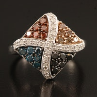 1.00 CTW Colored Diamond Ring in Sterling