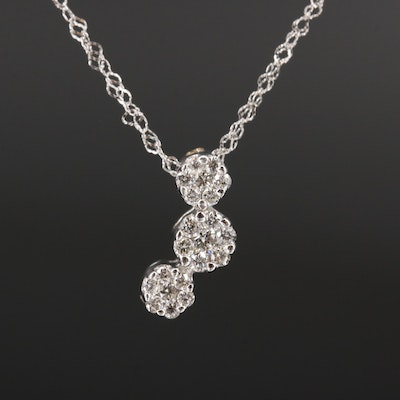 14K Diamond Drop Pendant Necklace
