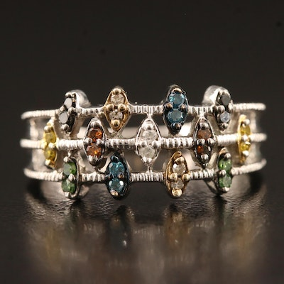 Openwork Sterling Ring with Colored Diamonds