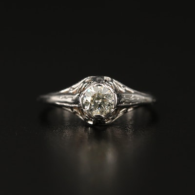 Late Art Deco 14K Diamond Ring