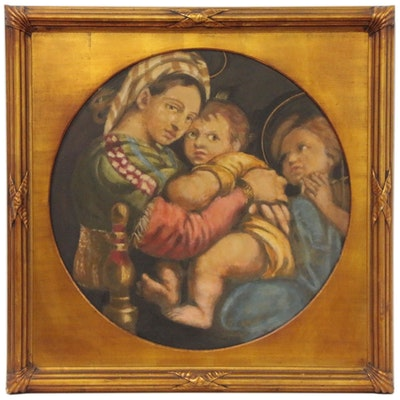 """Oil Painting after Raphael """"Madonna della Seggiola"""", Early 20th Century"""