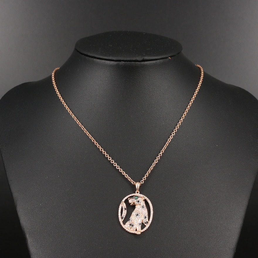 14K Diamond and Emerald Feline Pendant Necklace