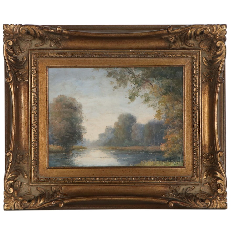 Hudson River School Style Riverscape Oil Painting, Late 20th to 21st Century