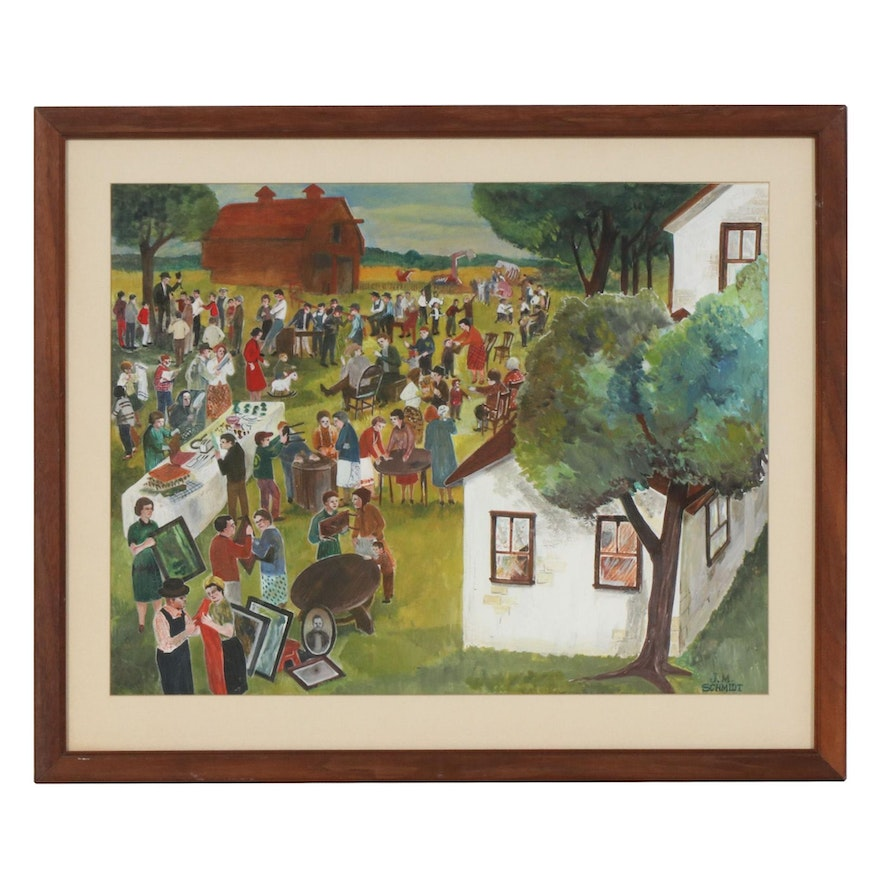 Gouache Painting of Neighborhood Party, Early to Mid 20th Century