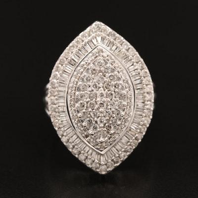Sterling 2.10 CTW Diamond Navette Ring