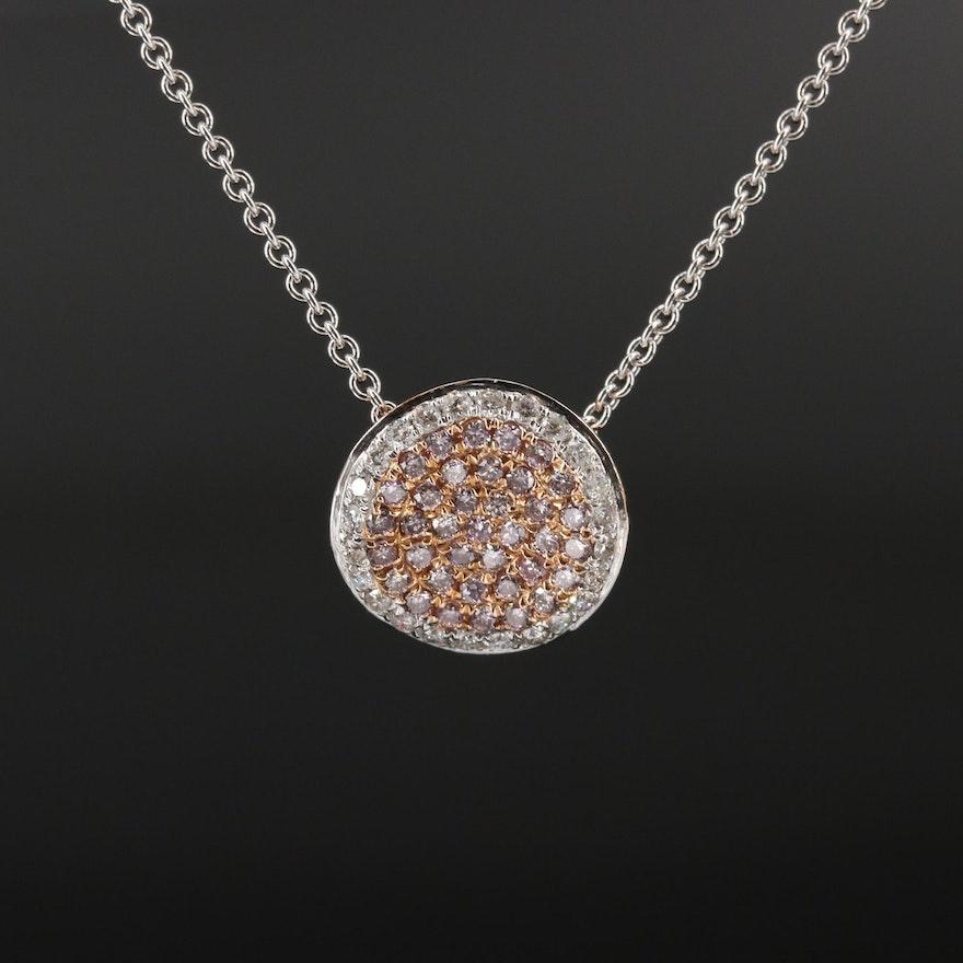 14K Diamond Cluster Necklace