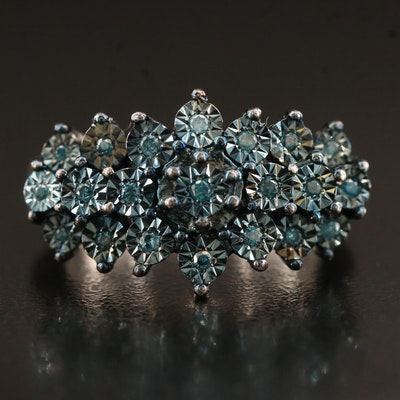 Sterling Silver Illusion Set Diamond Ring
