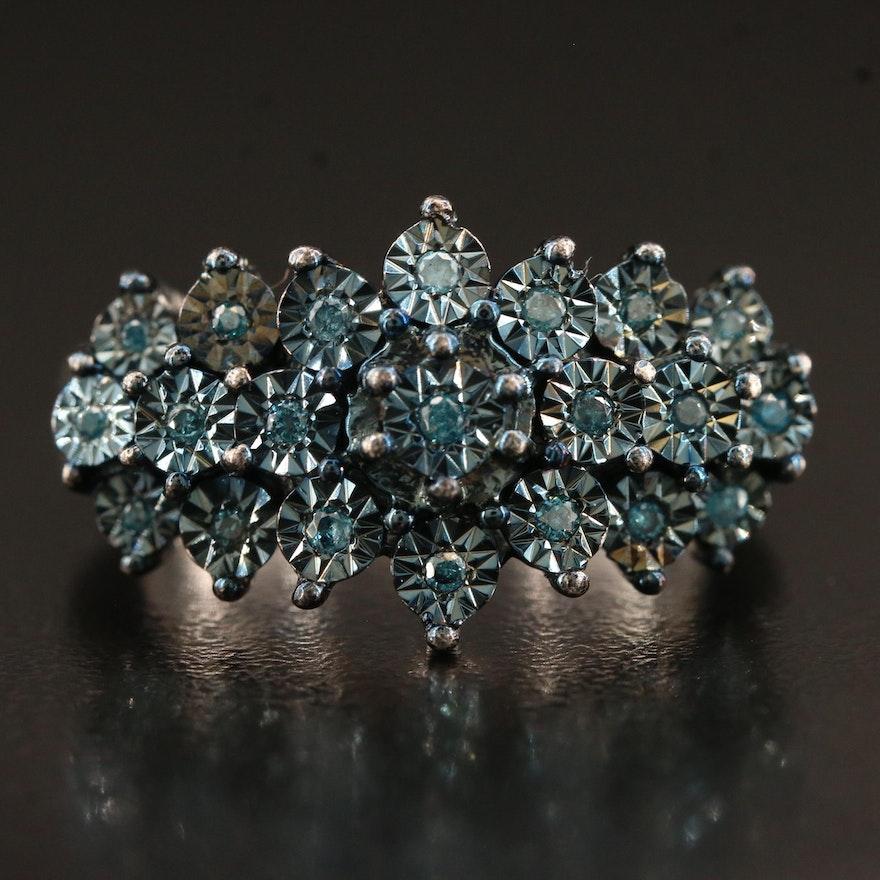 Sterling Silver Illusion Set Diamond Ring