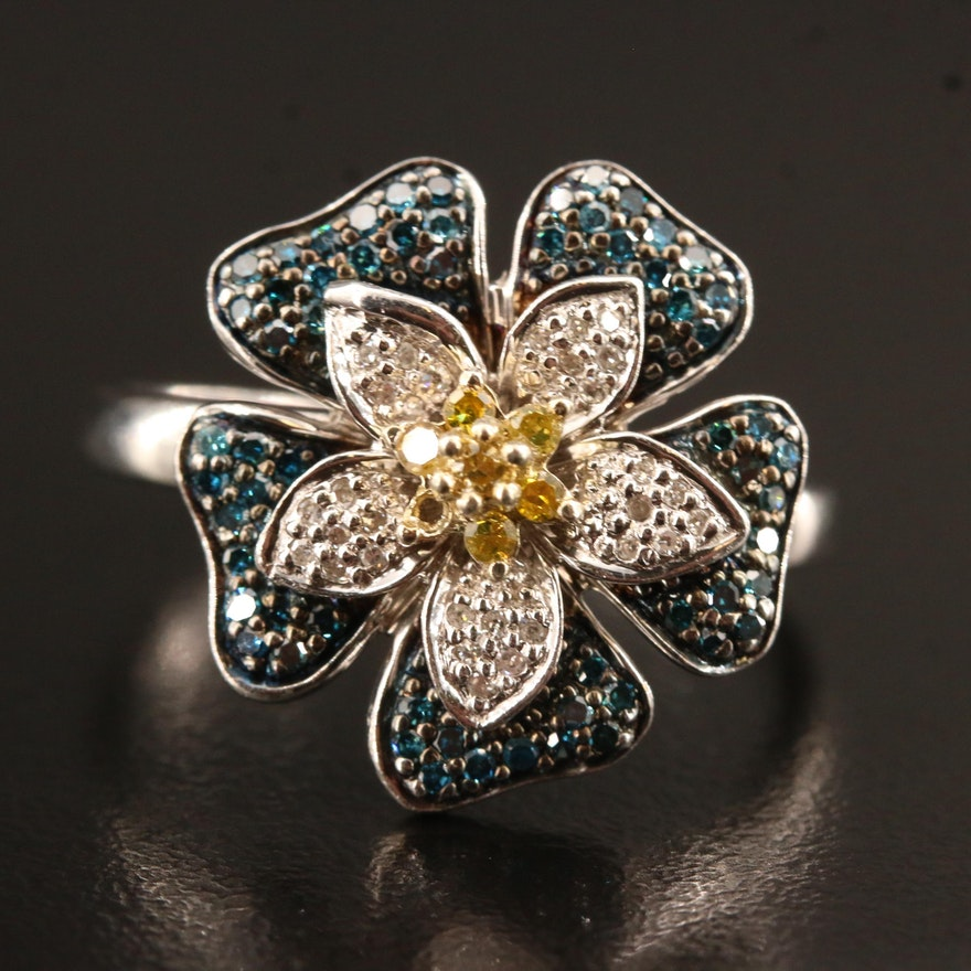 Colored Diamond Flower Ring in Sterling
