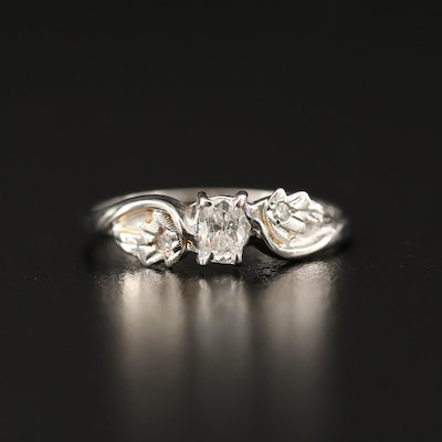 10K Diamond Foliate Ring