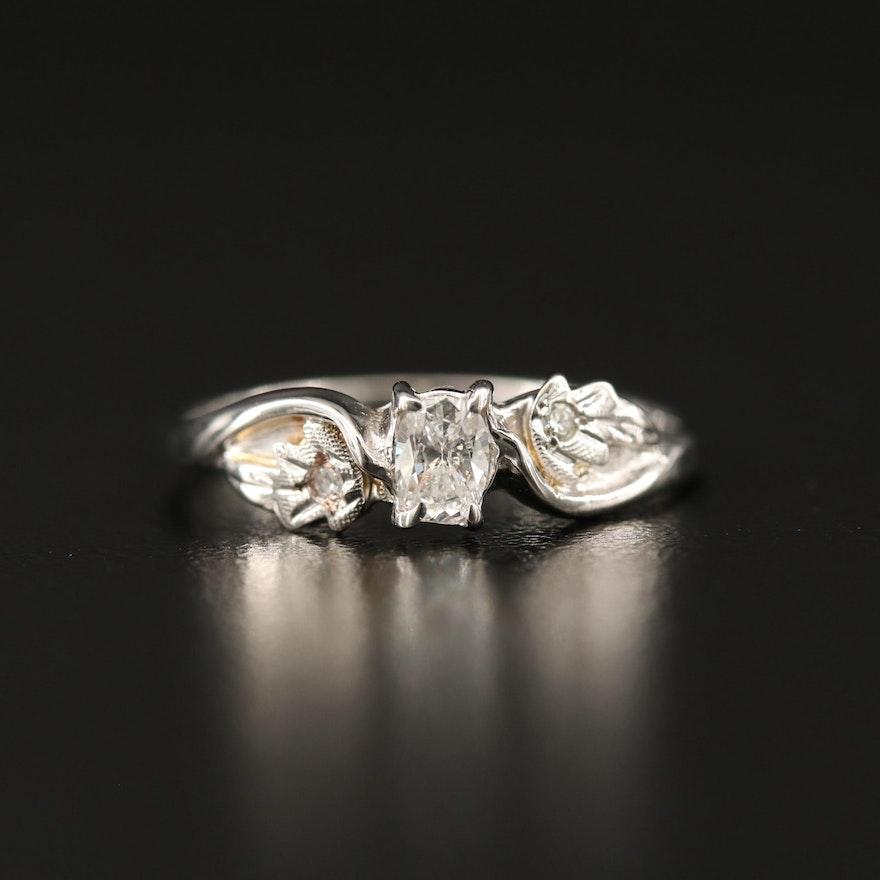 10K Diamond Foliate Ring