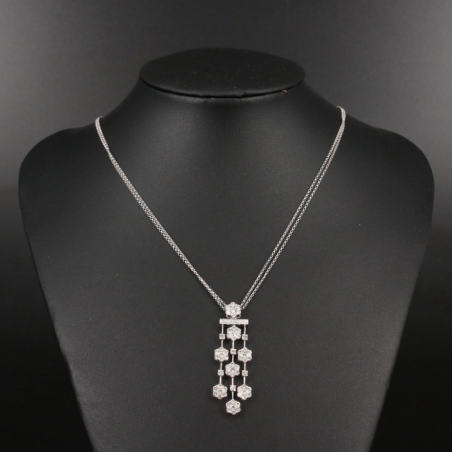 14K 2.15 CTW Diamond Waterfall Necklace with Double Strand Chain