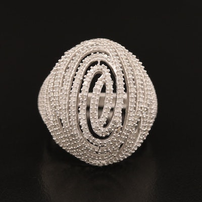 Sterling Silver Diamond Openwork Bombé Ring with Swirl Design