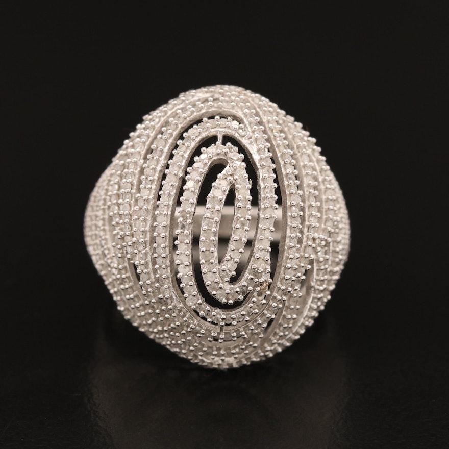Sterling Silver Diamond Openwork Bombé Ring with Swirl Design