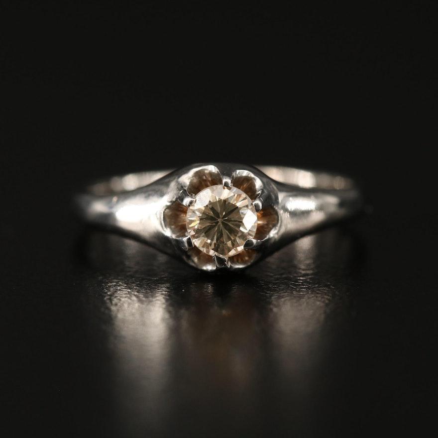 14K Diamond Belcher Ring