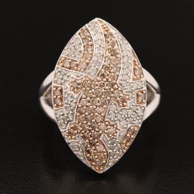 Sterling Silver 1.45 CTW Diamond Lizard Motif Navette Ring