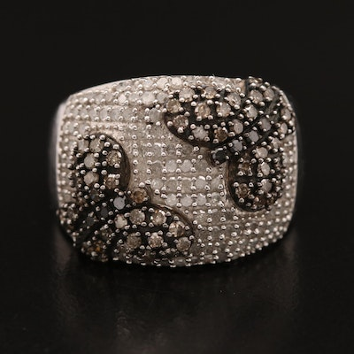 Sterling Silver 1.53 CTW Diamond Butterfly Motif Ring