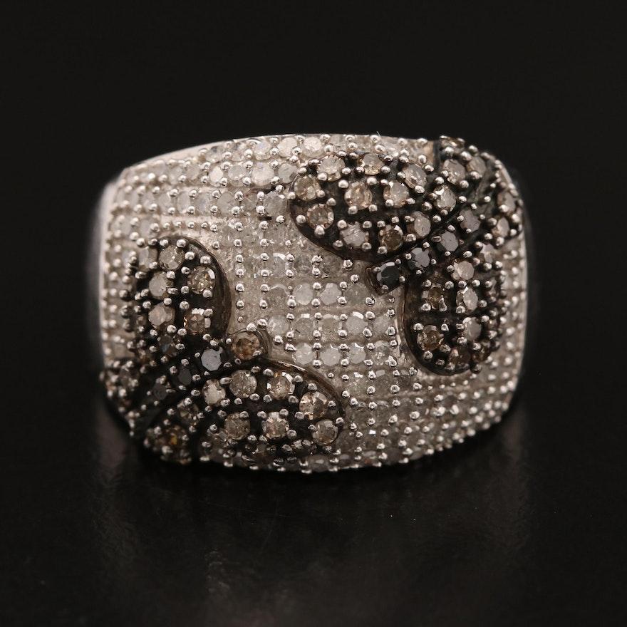 Sterling Silver 1.53 CTW Diamond Butterfly Motif Ring