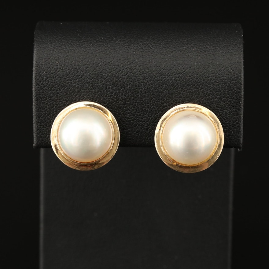 14K Mabé Pearl Earrings