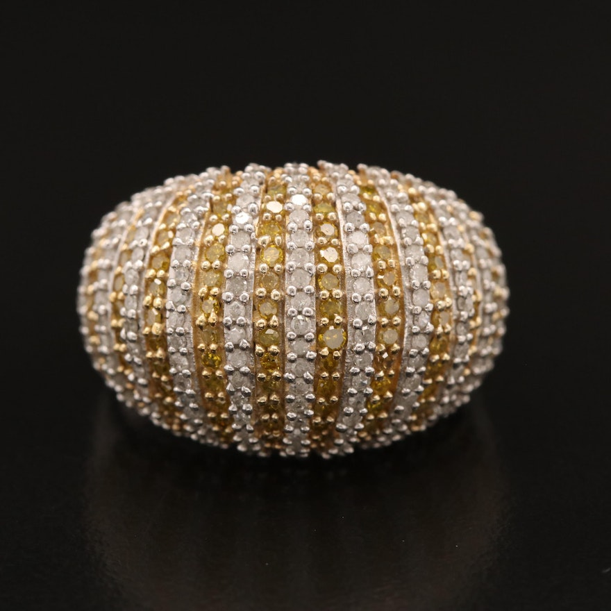1.75 CTW Diamond Striped Dome Ring in Sterling