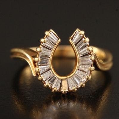 14K Diamond Horseshoe Motif Ring