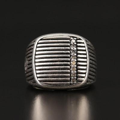 David Yurman Sterling Silver Signet Style Diamond Ring