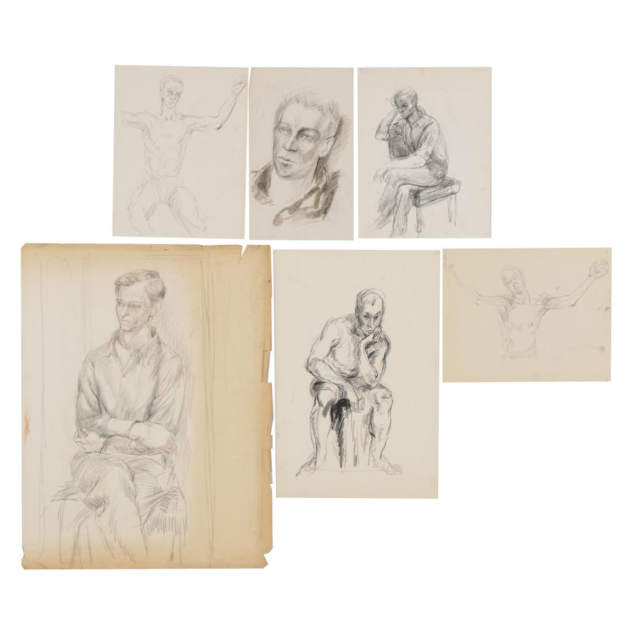 Gay Youse Figure Drawings, Mid to Late 20th Century