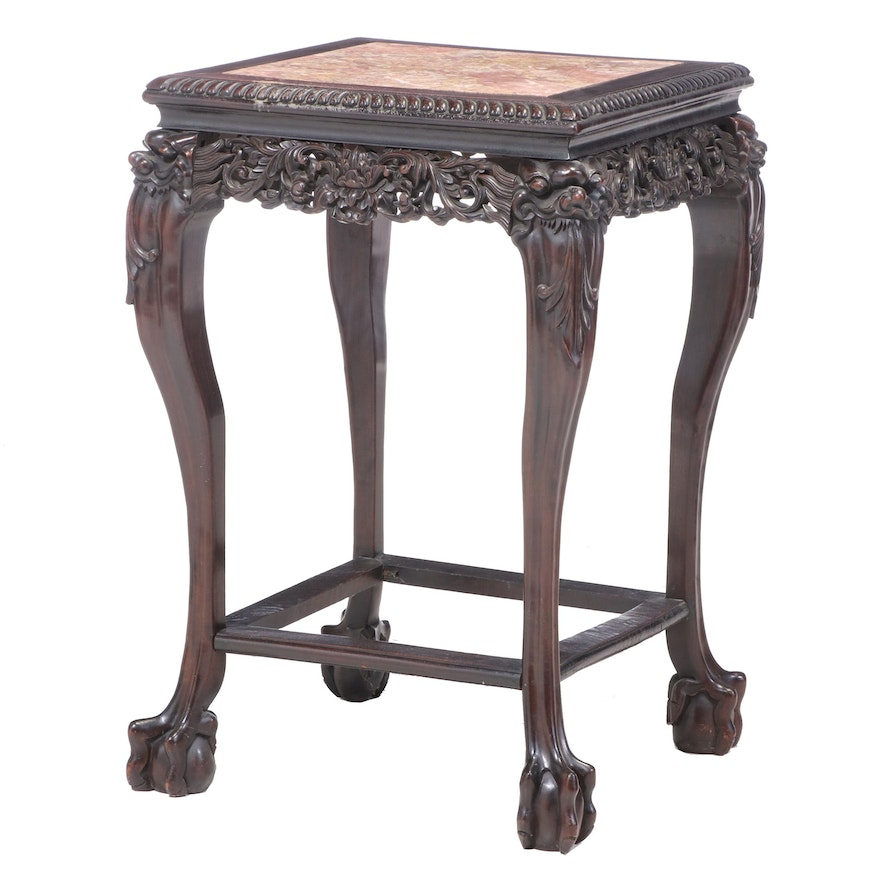 Chinese Carved Hardwood and Marble Top Side Table, Late 19th/Early 20th Century