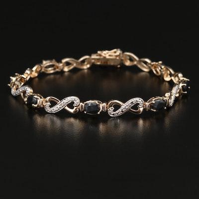 Sterling Silver Sapphire and Diamond Infinity Link Bracelet